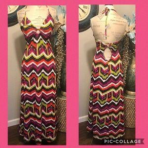 Trina Turk Spaghetti Strap Halter Maxi Dress